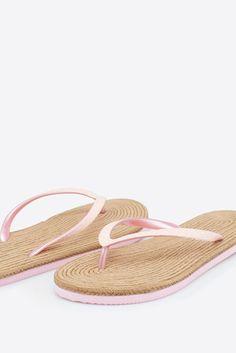Womensecret Flip flop con suela de esparto beige