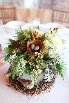 The Flower Cupboard - Virginia Florists - Wintry and organic floral centerpiece with bird's nest