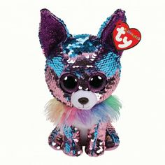 Yappy The Blue/Purple Chihuahua Flippable Medium is part of the Flippable Beanie Boos collection from Ty. Flippables are plush animals covered with sequins and when you pet the sequins, they turn over to reveal a different colour. Beanie Babies, Lego Disney, Big Eyed Stuffed Animals, Ty Peluche, Ty Toys, Dog Birthday, Plush Animals, Little Dogs, Sequins