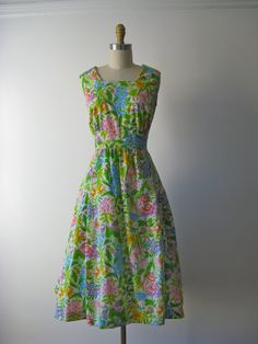 vintage 1960s dress / 60s dress / Joyful Garden by Dronning, $54.00