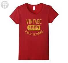 Womens 1997 Legend 20 years old B-day 20th Birthday Gift T-Shirt Large Cranberry - Birthday shirts (*Amazon Partner-Link)