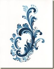 Norwegian rosemaling in traditional blue (believe it's the Telemark style)