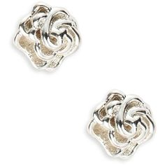 Lord & Taylor Sterling  Rose Stud Earrings ($20) ❤ liked on Polyvore featuring jewelry, earrings, silver, rose earrings, lord taylor jewelry, post earrings, rose jewelry and stud earrings