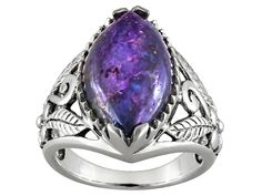 18x11mm Marquise Cabochon Purple Turquoise Sterling Silver Solitaire Ring
