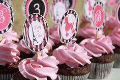 Pink Poodle In Paris/Free Printables; Includes Toppers, Banner & Water Bottle Labels!  Love the zebra print!
