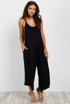 79623415bfdb Black Basic Wide Leg Maternity Jumpsuit