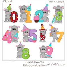 Hippos made from junk Watercolor Unicorn, Watercolor Clipart, Art Floral, Cute Hippo, Scrapbooking Digital, Cute Cartoon Characters, Birthday Clipart, Birthday Numbers, Baby Scrapbook