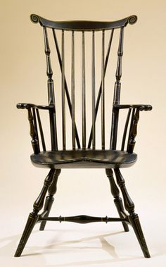 Charles Chase, Painted braced fan-back windsor arm chair, Nantucket, Massachusetts, circa 1790