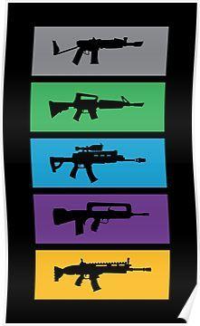 fortnite guns rifles boxed poster rifles game room gaming room decor guns - miniature mode arene fortnite