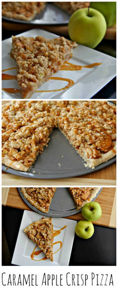 Caramel Apple Crisp Pizza, perfect for this time of the year. #dessertpizza #caramelapplecrisp