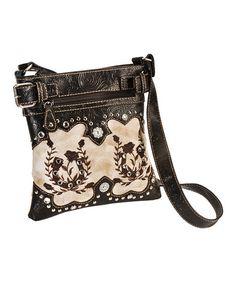 Savana Horseshoe Rose Embroidered Messenger Bag