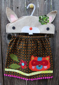 Raccoon in Flowerbed Skirt by FreckledChicken on Etsy, $34.00