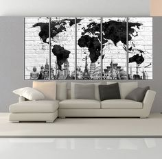 Canvas prints add a unique touch to your home. Modern, stylish and unique design will be the most special piece of your decor. Especially for those who like abstract works, black and white acrylic painting can be prepared in desired sizes  wonders of the world Extra large world map canvas print wall art, extra large world map wall art, black and white world map canvas print wall art No:6S23   i designed the watercolor map on photoshop. you will receive high resulation canvas print   ◆…