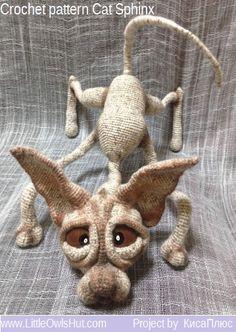 095 Cat Sphynx Findus with wire frame - Amigurumi Crochet Pattern PDF file by…