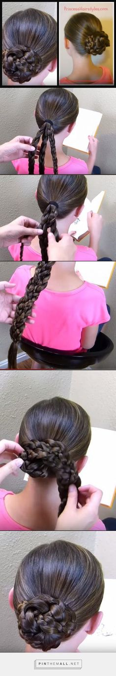 "//Easy Triple Braid Bun, Back To School Basic Hairstyles// using 3 braids braided together :)).. The real ""trick"" to this bun is the way in which the strands are braided together and how the hair is wrapped around the ponytail. You will want to keep things loose for the bun to lay more nicely, especially if your hair is long"