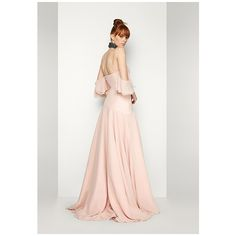 Pale Pink The Satellite Dress ($269) ❤ liked on Polyvore featuring dresses, gowns, pale pink, white bridesmaid dresses, formal evening gowns, high low prom dresses, white ball gowns and high low bridesmaid dresses