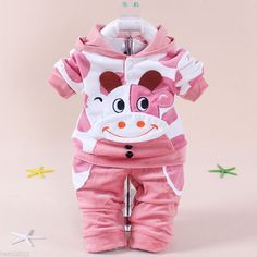 Hot Kids Baby Toddler Velvet Cow Cattle Calf Hoodie+Pants Two-pieces Outfits Set