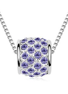 Stylish Metal Flat Front Swarovski Crystal Necklace For Woman