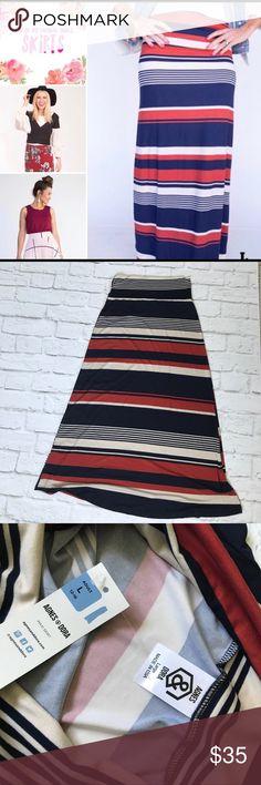 Agnes & Dora Maxi Skirt Brand new with tags Striped Maxi, size L. So soft! Agnes & Dora Skirts Maxi
