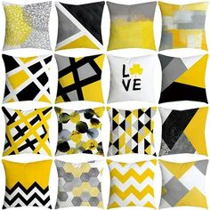 SHORY Geometric Theme Decorative Cushion Cover Color Block Patchwork Pillow Cover Home Sofa Car Office Throw Pillowcase Yellow Pillow Cases, Yellow Throw Pillows, Cushions On Sofa, Owl Pillows, Burlap Pillows, Living Room Decor Colors, Living Room Decor Inspiration, Sofa Cushion Covers, Throw Pillow Covers