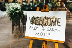 Beautiful Contemporary Wedding Sign with Gold Foil Detail | By Kirsty Mackenzie Photography | Wedding Sign | Wedding Decor | Welcome Sign for Wedding | Wedding Signage | London Wedding | Rustic Wedding Signs, Wedding Welcome Signs, Wedding Signage, Diy Wedding, Wedding Day, London Wedding, Diy Signs, Gold Foil, Bridal Gowns