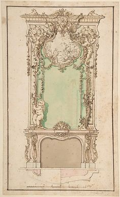 Design for Mantelpiece and Elaborate Overmantel Anonymous, Italian, first half of the 18th century, Neapolitan