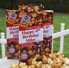 25 Personalized Cracker Jack Boxes for Baseball Birthday Party or Bar Mitzvah… Baseball Birthday Party, Carnival Birthday, Birthday Party Favors, Birthday Parties, Birthday Ideas, Softball Party, 4th Birthday, Sports Birthday, Golden Birthday
