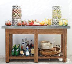 46 Ideas Diy Outdoor Bar Table Pottery Barn For 2019 Outdoor Buffet Tables, Outdoor Table Tops, Outdoor Bar Table, Patio Side Table, Outdoor Dining, Outdoor Spaces, Dining Tables, Outdoor Bars, Outdoor Kitchens