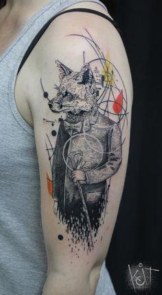 Koit Tattoo Berlin. Fox Tattoo | Graphic style | Inked arm | Photoshop style tattoo | Tattoo ideas | Inspiration | Cool tattoos | | Tatouage | Tätowierung | Tatuaggio | Tatuaż | Tatuaje | Deutschland | Geometric tattoo | Art | Body Art | Animal tattoos |
