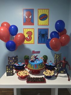 Want ideas on how to decorate the table, or what kind of bottom panel to use the shower decoration Spider-Man? Spiderman Theme Party, Superman Birthday Party, Avengers Birthday, Baby Boy Birthday, 4th Birthday Parties, Birthday Party Decorations, Fête Spider Man, Spider Man Party, First Birthdays