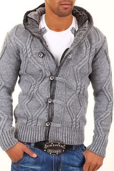 Knit cardigan mens Cardigan Men's Carisma Knitted Hooded Chunky Pullover Jacket | Style Updates