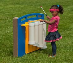 Children can pound with their hands or strike with the mallets to hear the sounds of the outdoor Drum Panel. This outdoor play equipment for children is perfect for introducing music at your preschool's outdoor classroom. The Drum Panel consists … READ Toddler Playground, Preschool Playground, Preschool Music, Outdoor Playground, Music Activities, Playground Ideas, Playground Toys, Pvc Pipe Projects, Kids Play Area