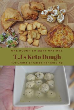 T.J's Keto Dough - One Dough So Many Options . 1.6 Grams of Carbs Per Serving! Thin Crispy Pizza Crust, Pizza Rolls, Calzones, Hot Pockets, Cinnamon Crisp, Cheese Crackers, Gnocchi, Soup Dumplings and more! Perfect dough waiting for your to make your creations!