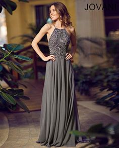 Charcoal halter chiffon gown 92605