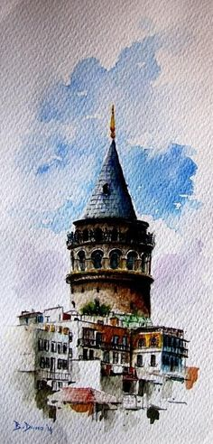 Galata Tower painted by Berrin Duma #watercolorarts