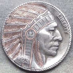 GEDIMINAS PALSIS HOBO NICKEL - COPPER INLAY INDIAN CHIEF - 1923 BUFFALO NICKEL Indian Skull, Hobo Nickel, Coin Art, First Nations, Native Americans, American Indians, Art Forms, Sculpture Art, Buffalo