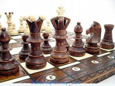 LARGE WOODEN CHESS SET HANDCRAFTED w/ BOARD 54x54 TOP SCHACH AJEDREZ ROYAL