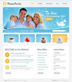Happy Family Website Templates by Mira Family Website, Joomla Templates, Family Planning, Marriage And Family, Happy Family, Health And Safety, Childcare, Website Template, Beauty Care
