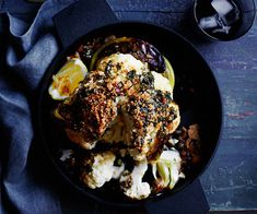 Roasted whole cauliflower with wakame butter and toasted crumbs :: Gourmet Traveller Magazine Mobile Whole Roasted Cauliflower, Cauliflower Recipes, Vegetable Dishes, Vegetable Recipes, Crumb Recipe, Light Recipes, Fall Recipes, Food Inspiration, Gourmet