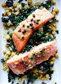Slow Cooked Salmon with Chickpeas and Greens