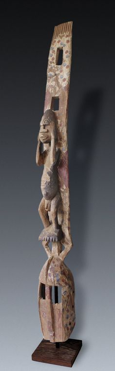 figured plank-mask, Dogon-peoples, Mali, Probably originated after 1960, post-colonial.