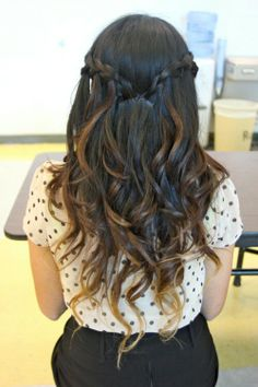Ombre curls with side braids