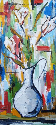 Oil Painting, Still Life.( Vase with White Flowers )  by Gor on Artgalerypainting at Etsy.