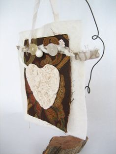 Mixed Media Heart Fiber Art Hanging Polymer Heart by hastypearl, $25.00