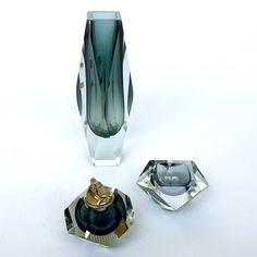 Murano Glass Sommerso Table Lighter Set and Vase. Circa 1960s'