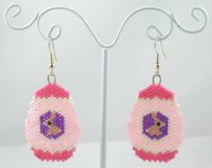 Beaded Easter Egg with a Tiny Bunny Earrings by LazyRose on Etsy