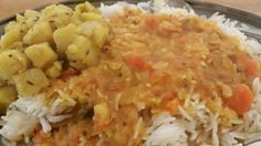 Dhaar and Bhaat and Alu fry traditional gujerati combo meal Sev Puri, Veg Thali, Indian Street Food, Cape Town, Namaste, Fries, Meals, Traditional, Meal