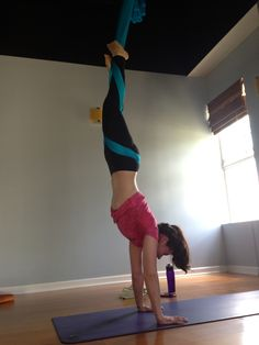 Aerial Yoga Handstand... scary to get into this pose but once there an awesome achievement