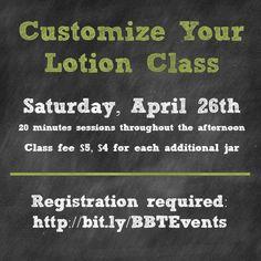 Custom Lotion Blending Class Saturday, April 26th | Best Bib and Tucker, Hartville