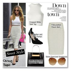Street Style: Chrissy Teigen by helenevlacho on Polyvore featuring Versace, A.L.C., Balenciaga, Barbara Bui, GetTheLook, StreetStyle, CelebrityStyle and ChrissyTeigen